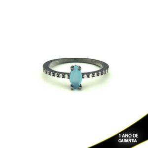 Imagem de Anel Banho Negro com Zircônias e Pedra Natural Azul Claro - 0104476
