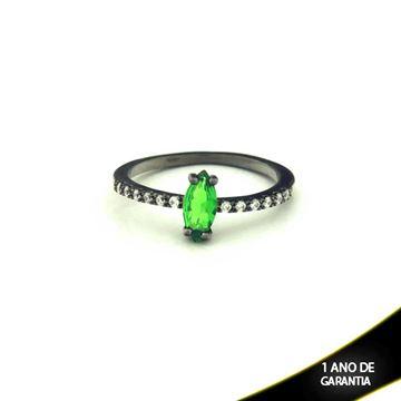 Imagem de Anel Banho Negro com Zircônias e Pedra Natural Verde Claro - 0104476