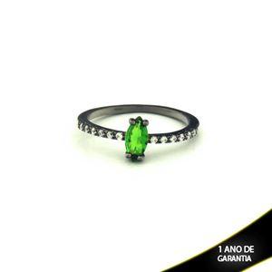 Imagem de Anel Banho Negro com Zircônias e Pedra Natural Verde Escuro - 0104476