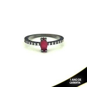 Imagem de Anel Banho Negro com Zircônias e Pedra Natural Vermelho - 0104476