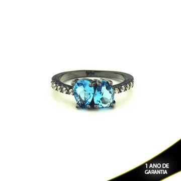 Imagem de Anel Banho Negro com Zircônias e Duas Pedras Naturais em Gota Azul - 0104477