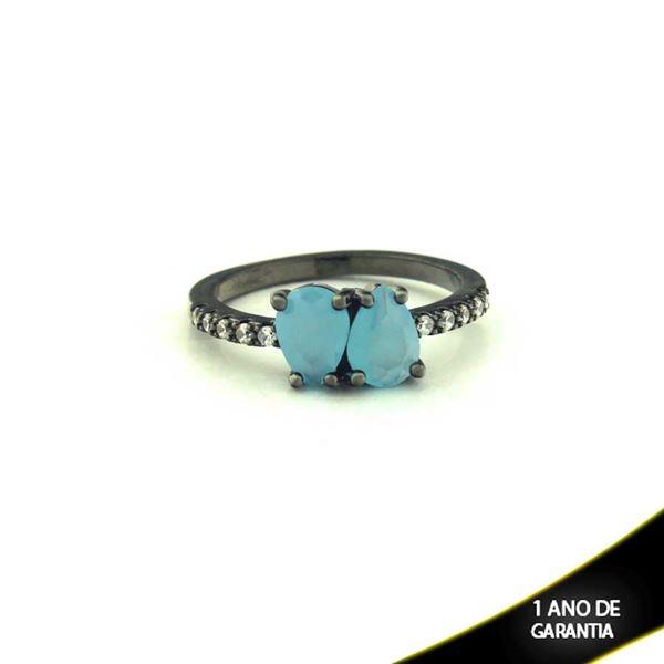 Imagem de Anel Banho Negro com Zircônias e Duas Pedras Naturais em Gota Azul Claro - 0104477