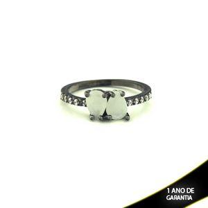 Imagem de Anel Banho Negro com Zircônias e Duas Pedras Naturais em Gota Branco - 0104477