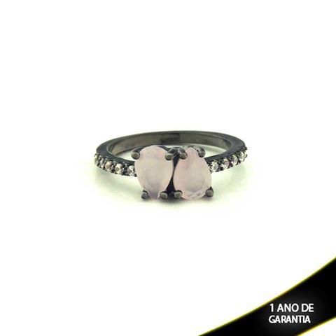 Imagem de Anel Banho Negro com Zircônias e Duas Pedras Naturais em Gota Rosa - 0104477