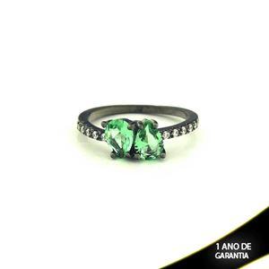 Imagem de Anel Banho Negro com Zircônias e Duas Pedras Naturais em Gota Verde Claro - 0104477