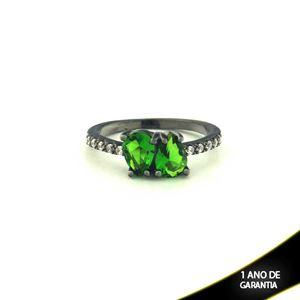 Imagem de Anel Banho Negro com Zircônias e Duas Pedras Naturais em Gota Verde Escuro - 0104477