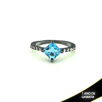 Imagem de Anel Banho Negro com Zircônias e Pedra Natural Azul - 0104478