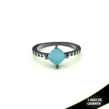 Imagem de Anel Banho Negro com Zircônias e Pedra Natural Azul Claro - 0104478
