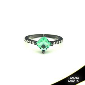 Imagem de Anel Banho Negro com Zircônias e Pedra Natural Verde Claro - 0104478