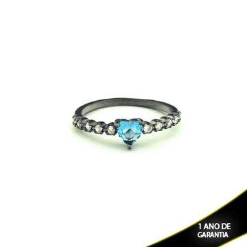 Imagem de Anel Banho Negro com Zircônias e Pedra Natural Coração Azul - 0104479