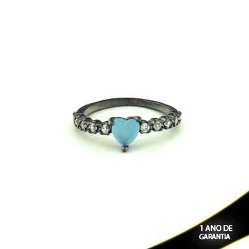 Imagem de Anel Banho Negro com Zircônias e Pedra Natural Coração Azul Claro - 0104479
