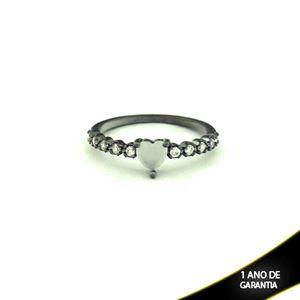 Imagem de Anel Banho Negro com Zircônias e Pedra Natural Coração Branco - 0104479