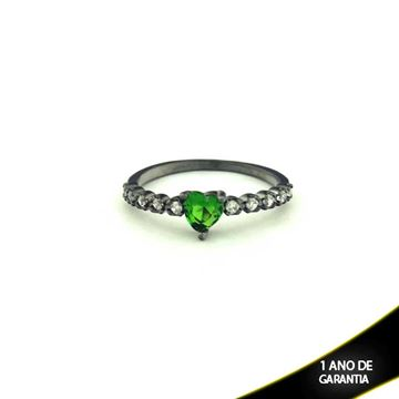 Imagem de Anel Banho Negro com Zircônias e Pedra Natural Coração Verde Escuro - 0104479
