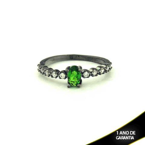 Imagem de Anel Banho Negro com Zircônias e Pedra Natural Oval Verde Escuro - 0104480