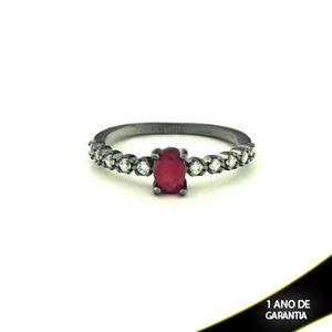Imagem de Anel Banho Negro com Zircônias e Pedra Natural Oval Vermelho - 0104480