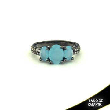 Imagem de Anel Banho Negro com Zircônias e Três Pedras Naturais Oval Azul Claro - 0104481