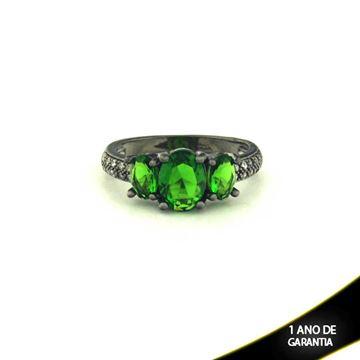 Imagem de Anel Banho Negro com Zircônias e Três Pedras Naturais Oval Verde Escuro - 0104481