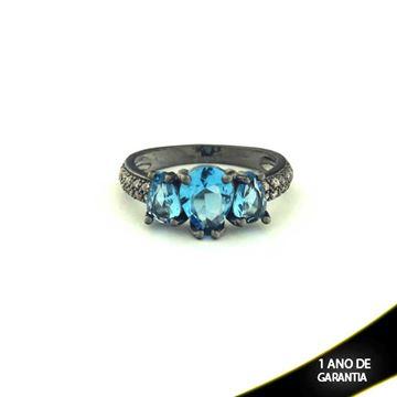 Imagem de Anel Banho Negro com Zircônias e Três Pedras Naturais em Gota Azul - 0104482