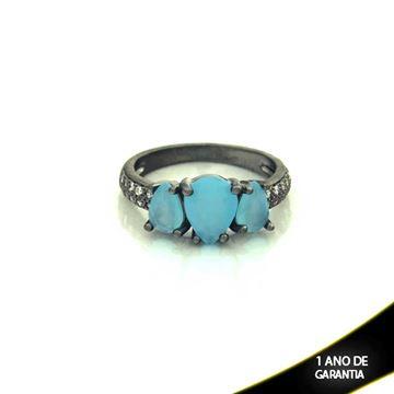 Imagem de Anel Banho Negro com Zircônias e Três Pedras Naturais em Gota Azul Claro - 0104482