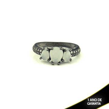 Imagem de Anel Banho Negro com Zircônias e Três Pedras Naturais em Gota Branco - 0104482