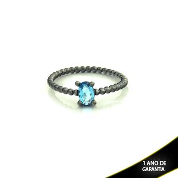 Imagem de Anel Banho Negro com Pedra Natural Oval Azul - 0104484