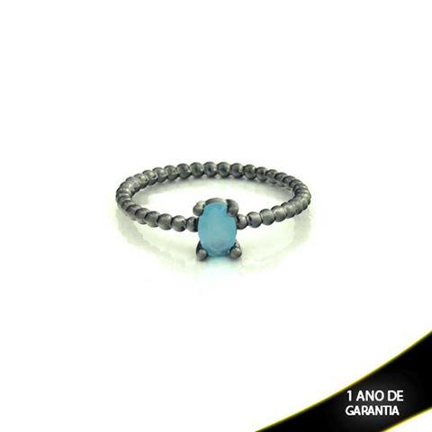 Imagem de Anel Banho Negro com Pedra Natural Oval Azul Claro - 0104484