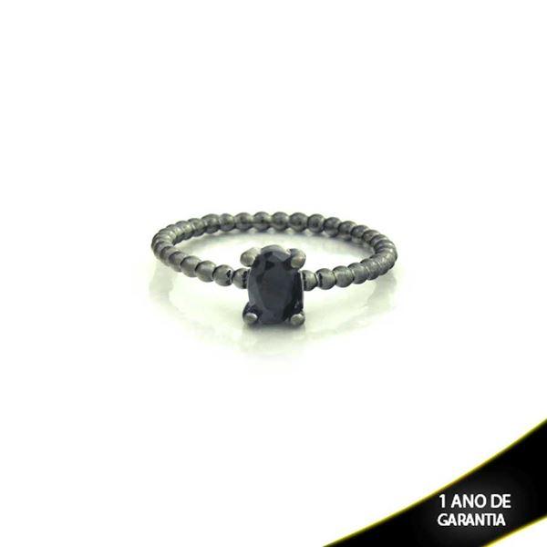 Imagem de Anel Banho Negro com Pedra Natural Oval Preto - 0104484