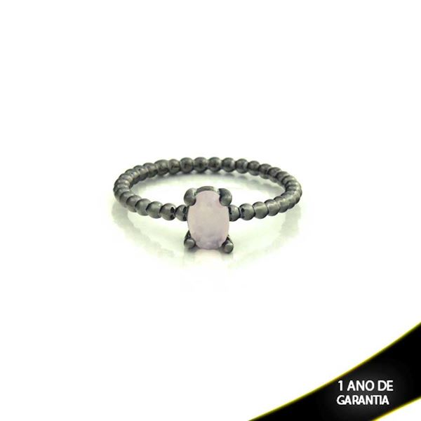 Imagem de Anel Banho Negro com Pedra Natural Oval Rosa - 0104484