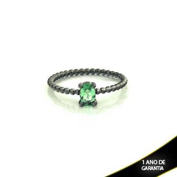 Imagem de Anel Banho Negro com Pedra Natural Oval Verde Claro - 0104484