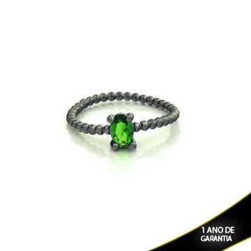 Imagem de Anel Banho Negro com Pedra Natural Oval Verde Escuro - 0104484