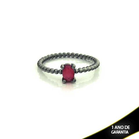 Imagem de Anel Banho Negro com Pedra Natural Oval Vermelho - 0104484