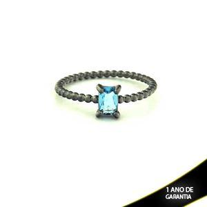 Imagem de Anel Banho Negro com Pedra Natural Retangular Azul - 0104485