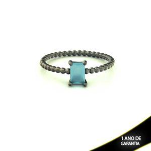Imagem de Anel Banho Negro com Pedra Natural Retangular Azul Claro - 0104485