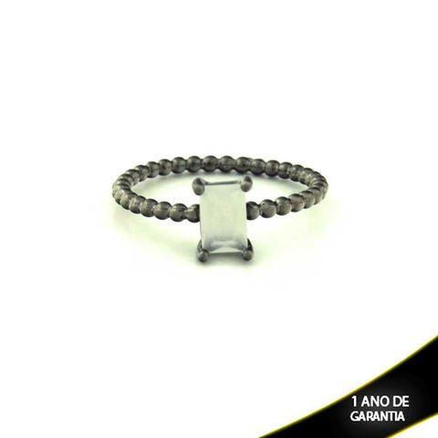 Imagem de Anel Banho Negro com Pedra Natural Retangular Branco - 0104485