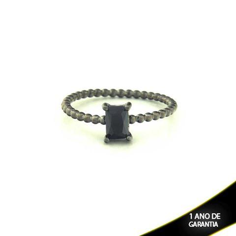 Imagem de Anel Banho Negro com Pedra Natural Retangular Preto - 0104485