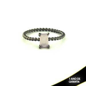 Imagem de Anel Banho Negro com Pedra Natural Retangular Rosa - 0104485