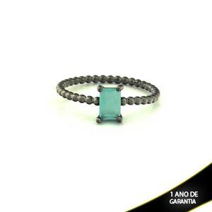 Imagem de Anel Banho Negro com Pedra Natural Retangular Verde Água - 0104485