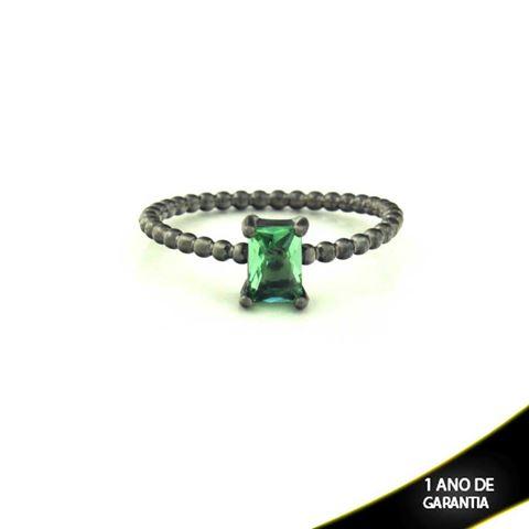 Imagem de Anel Banho Negro com Pedra Natural Retangular Verde Claro - 0104485