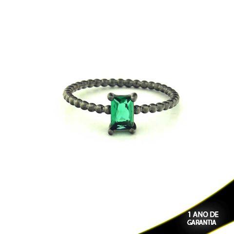Imagem de Anel Banho Negro com Pedra Natural Retangular Verde Escuro - 0104485