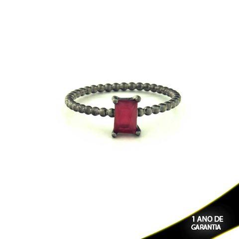 Imagem de Anel Banho Negro com Pedra Natural Retangular Vermelho - 0104485