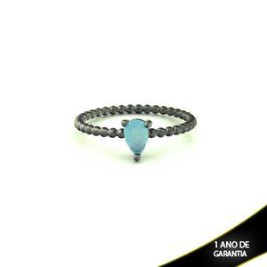 Imagem de Anel Banho Negro com Pedra Natural Gota Azul Claro - 0104486