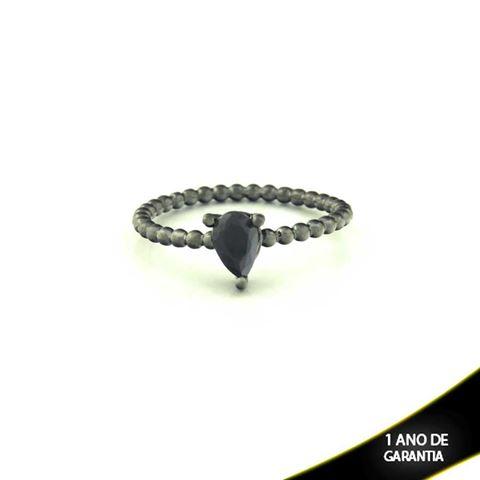Imagem de Anel Banho Negro com Pedra Natural Gota Preto - 0104486