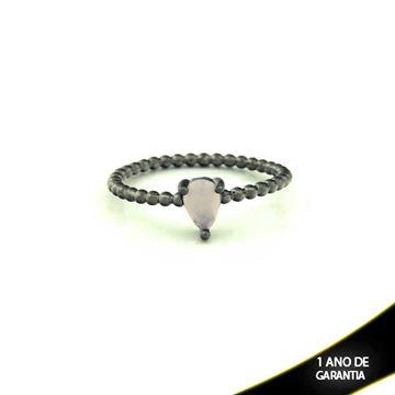 Imagem de Anel Banho Negro com Pedra Natural Gota Rosa - 0104486