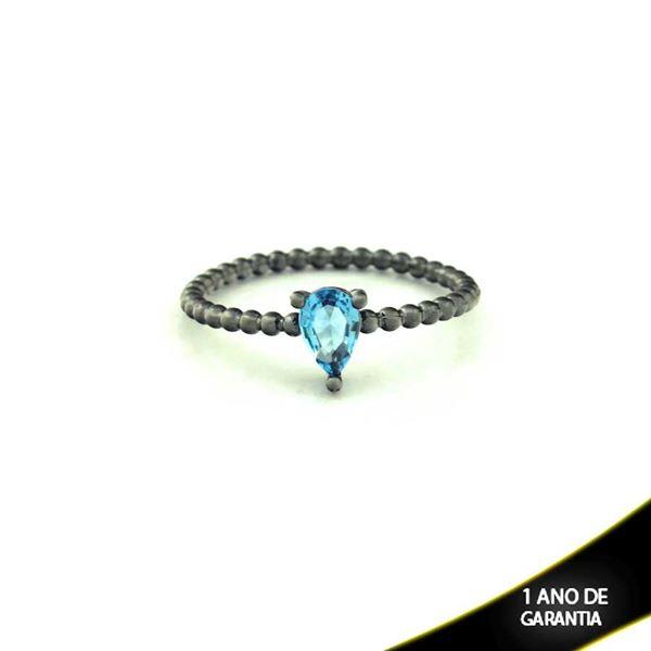 Imagem de Anel Banho Negro com Pedra Natural Gota Azul - 0104486