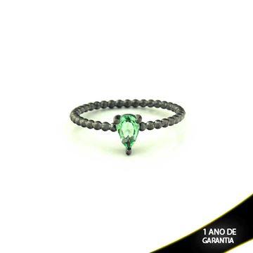 Imagem de Anel Banho Negro com Pedra Natural Gota Verde Claro - 0104486