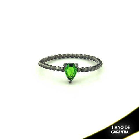 Imagem de Anel Banho Negro com Pedra Natural Gota Verde Escuro - 0104486
