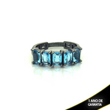 Imagem de Anel Banho Negro com Pedras Naturais Azul - 0104487