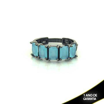 Imagem de Anel Banho Negro com Pedras Naturais Azul Claro - 0104487