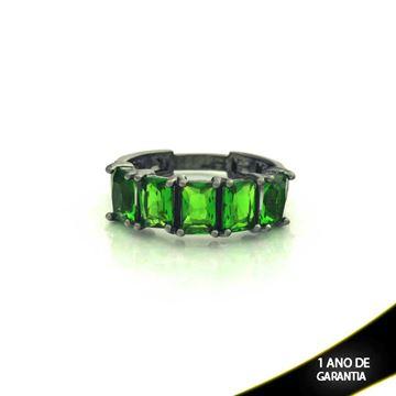 Imagem de Anel Banho Negro com Pedras Naturais Verde Escuro - 0104487