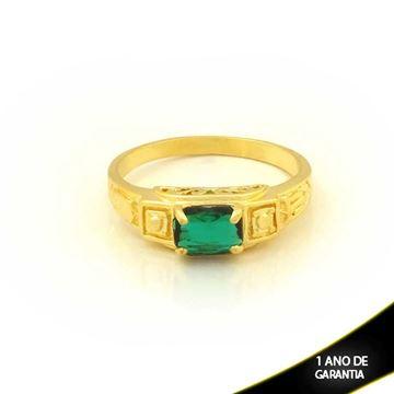Imagem de Anel Masculino Trabalhado com Pedra Verde - 0104041